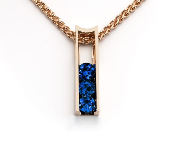 Blue sapphire and 14k yellow gold pendant, September birthstone, 5th anniversary gift - 3503