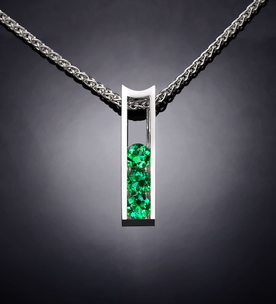 emerald necklace, May birthstone, Chatham emerald, emerald pendant, Christmas gift for her, green necklace, Argentium silver,  - 3503