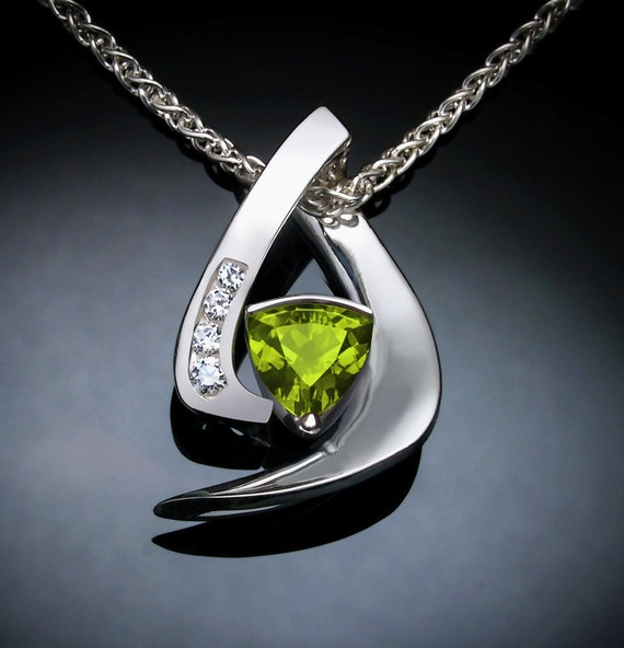 peridot pendant, peridot necklace, August birthstone, gemstone necklace, Argentium silver jewelry, white sapphire, modern jewelry - 3369