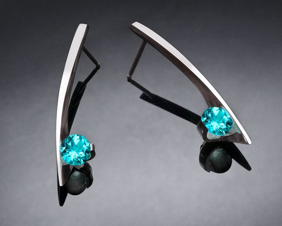 blue topaz earrings, turquoise blue topaz, Argentium silver, eco-friendly, modern jewelry, silver earrings - 2458