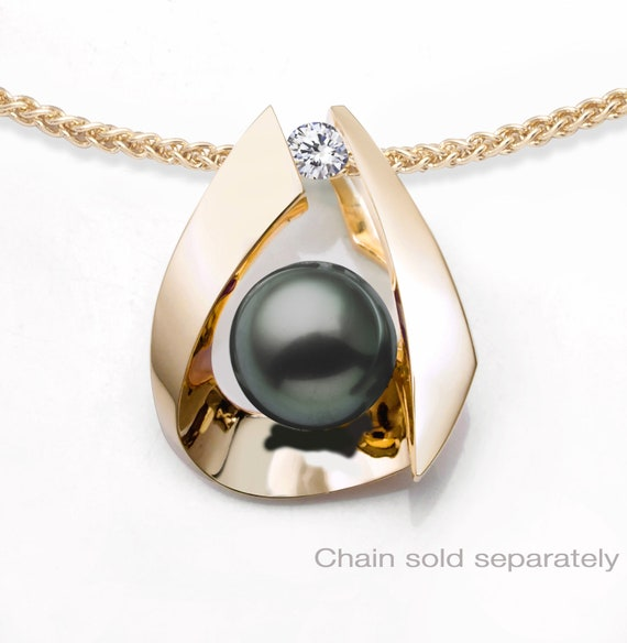Gold Tahitian pearl pendant with diamond side stone, CHAIN SOLD SEPARATELY, black pearl, fine jewelry  - 3455