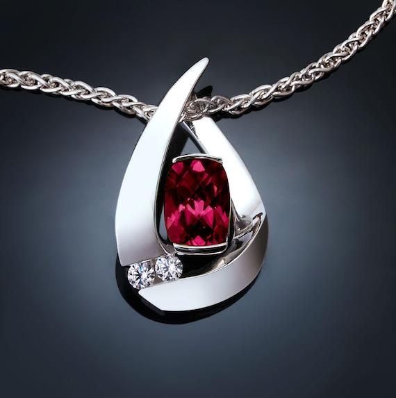 garnet necklace, January birthstone, Rhodolite garnet, white sapphires,  Argentium silver, anniversary gift, 3378