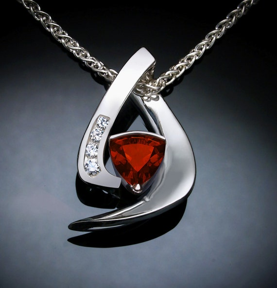 natural Mozambique garnet and white sapphire pendant, January birthstone, silver pendant - 3369