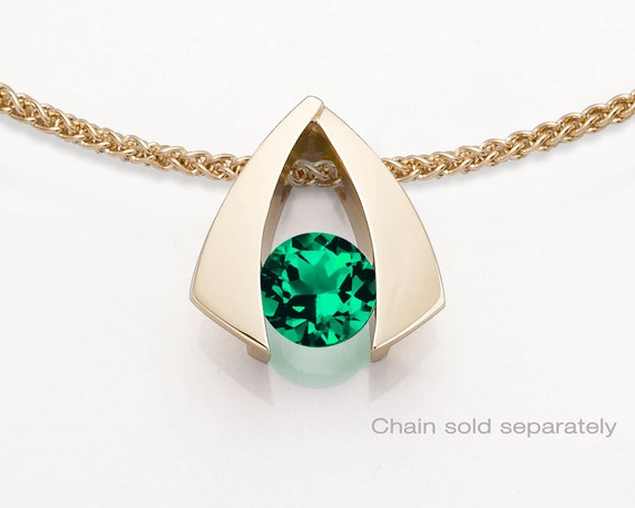 14k gold and emerald pendant, May birthday, Chatham lab created emerald -3424