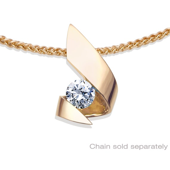 14k gold and cubic zirconia pendant, CHAIN SOLD SEPARATELY,  modern jewelry design - 3440