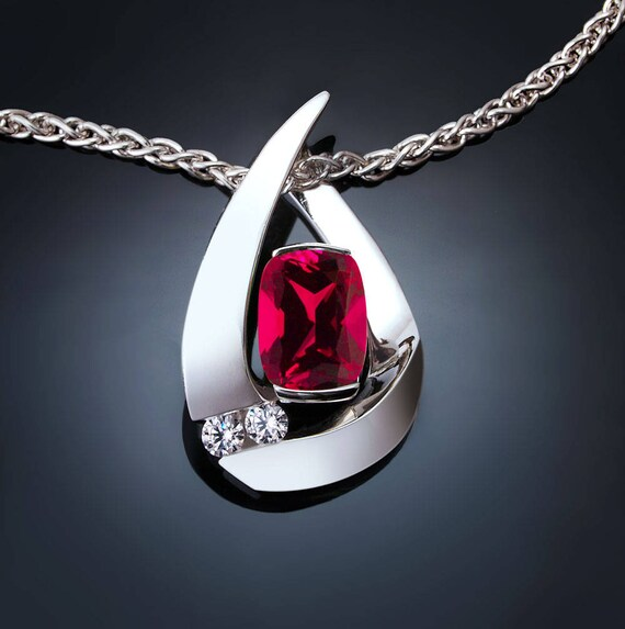 Ruby and white sapphire necklace,  Argentium silver pendant, July birthstone, Chatham ruby, pear shape ruby  - 3378