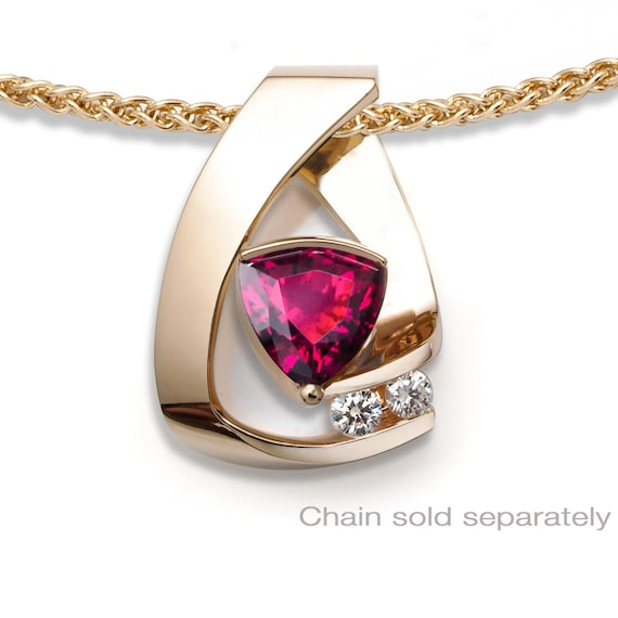 14k gold, ruby and diamond pendant, CHAIN SOLD SEPARATELY, July birthstone, Christmas party pendant, 3452