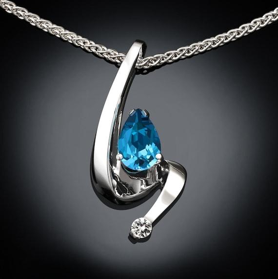 Swiss blue topaz necklace, artisan jewelry, white sapphire, Argentium silver, December birthstone,wedding necklace, birthday gift - 3380
