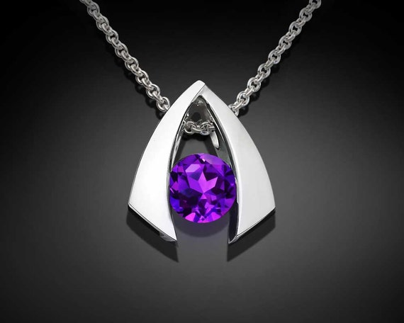 amethyst necklace, amethyst pendant, silver necklace, purple necklace, February birthstone, Argentium silver pendant, for her - 3424