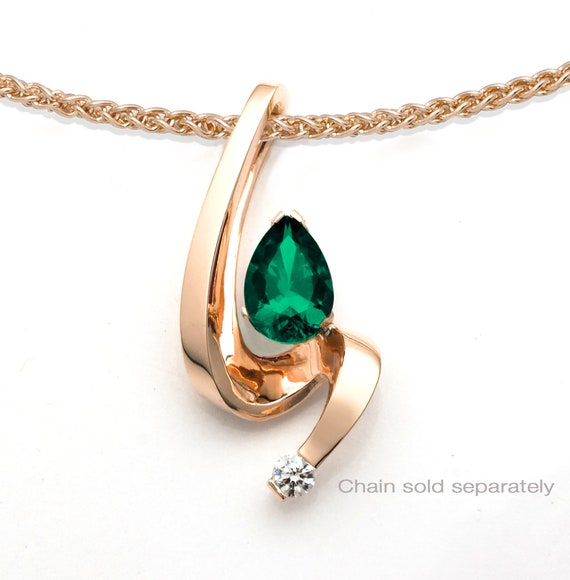 emerald pendant, 14k gold, white sapphire, May birthstone, fine jewelry, artisan jewelry, pear shape Chatham emerald - 3380