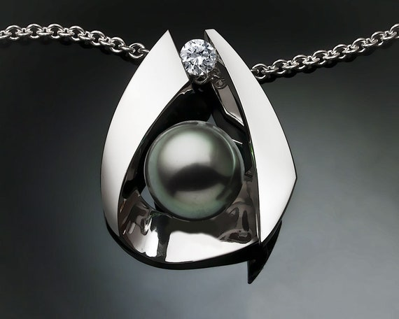 Tahitian pearl necklace, white sapphire, Argentium silver pendant, June birthstone, peacock color, fine jewelry -3455