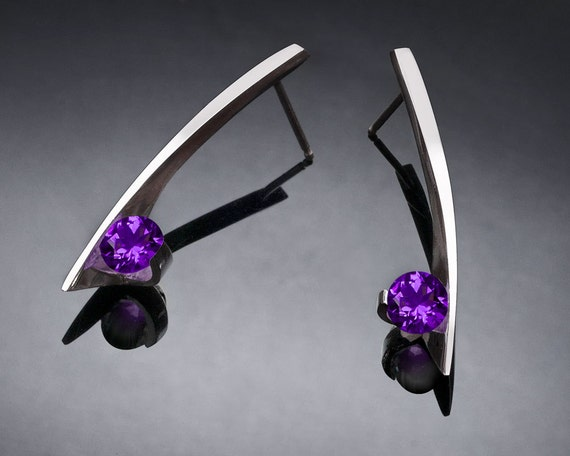 Amethyst Earrings, Silver Earrings, February birthstone earrings, contemporary Earrings, Argentium Silver, Modern Earrings - 2458