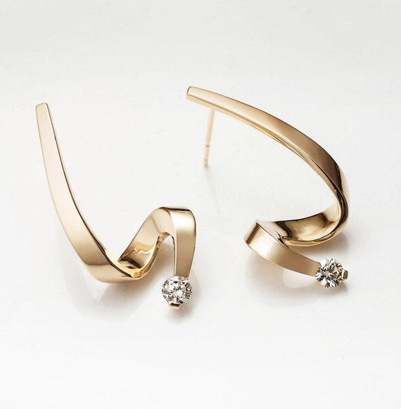 gold earrings, diamond earrings,14k gold earrings, April birthstone, dangle earrings, wedding earrings, artisan jewelry, gift for her - 2380
