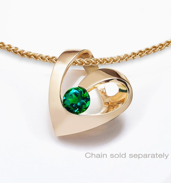 14k gold emerald heart pendant, CHAIN SOLD SEPARATELY, May birthstone, Valentine necklace, Chatham finest quality lab created emerald -3401
