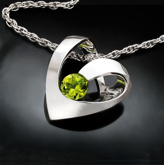 peridot necklace, August birthstone, heart necklace, valentine necklace, gemstone necklace, birthday gift, for her - 3401