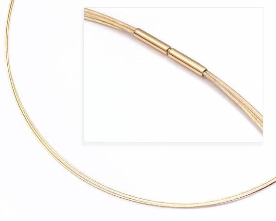 "14k yellow gold three strand - 17"" - spiral strand chain - bayonet clasp"