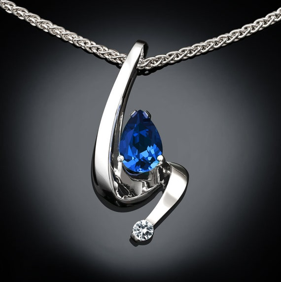 pear shape blue sapphire necklace set in Argentium silver with white sapphire side stone, September birthstone, 45th anniversary - 3380