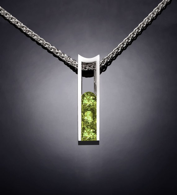 peridot necklace, peridot pendant, August birthstone, Argentium silver jewelry, gemstone jewelry, green necklace, for her - 3503