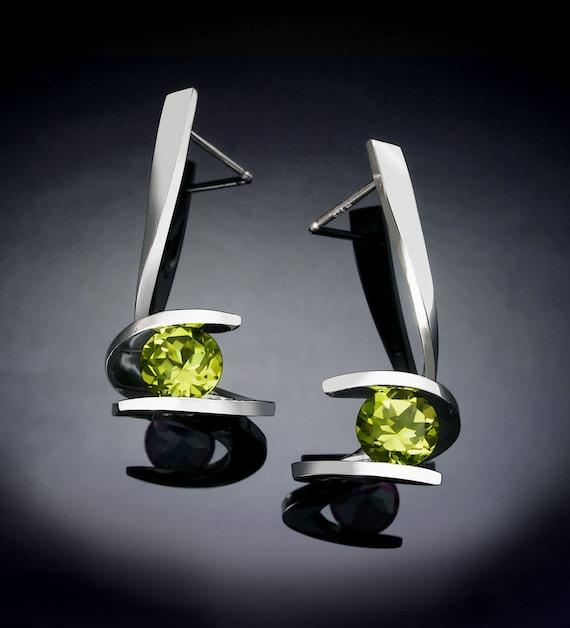 peridot earrings, gemstone earrings, statement earrings, August birthstone, silver earrings, dangle earrings, Argentium silver - 2479