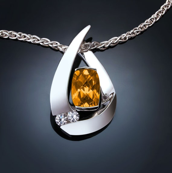 citrine and white sapphire necklace, November birthstone, Argentium silver -3378