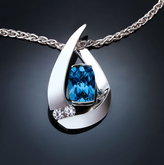 London blue topaz necklace, white sapphires, Argentium silver pendant, December birthstone - 3378