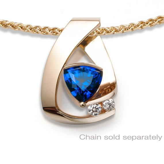 14k yellow gold, blue sapphire & diamond pendant, CHAIN SOLD SEPARATELY, anniversary gift, September birthstone, fine jewelry, - 3452