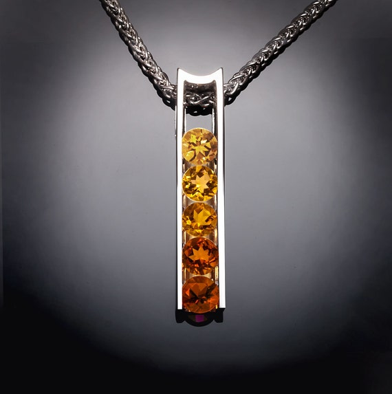 citrine necklace, citrine ombre, November birthstone, statement necklace, fine jewelry, designer necklace, for her - 3503