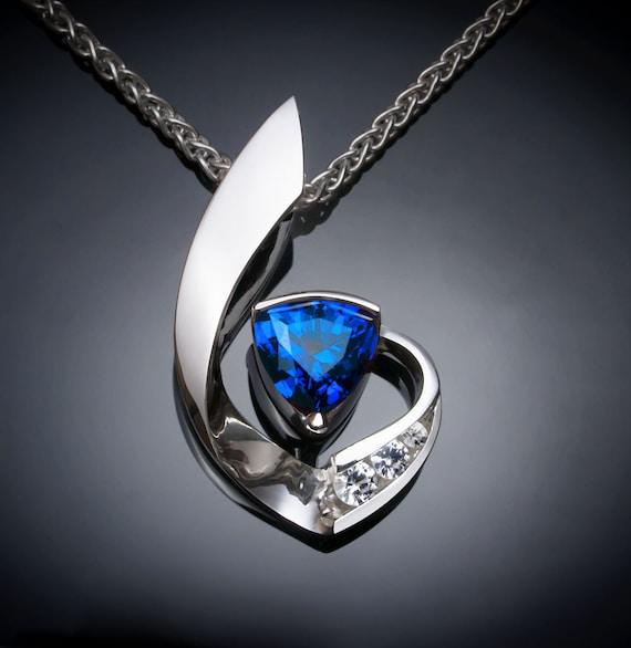 Blue sapphire necklace,  white sapphires, Argentium silver - 3466