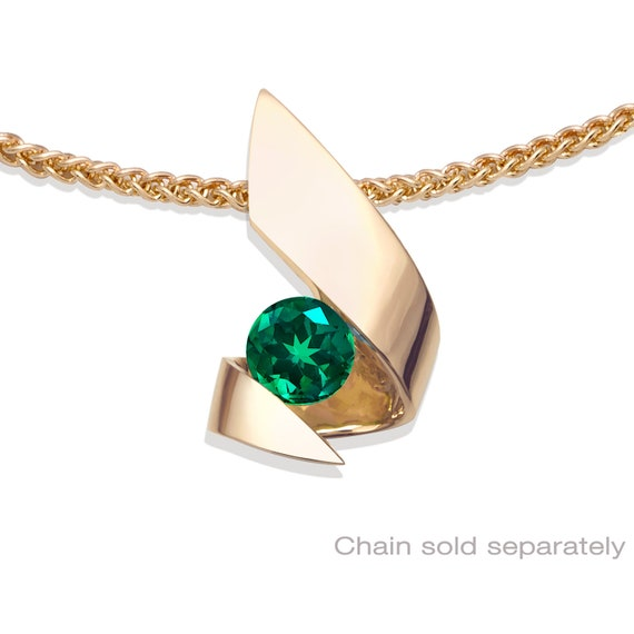 14k gold and emerald pendant, CHAIN SOLD SEPARATELY, May birthstone, fine jewelry, green gemstone  3440