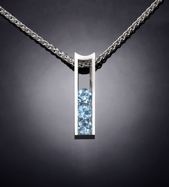 Aquamarine necklace, tarnish resistant silver, March birthstone wedding necklace, fine jewelry - 3503