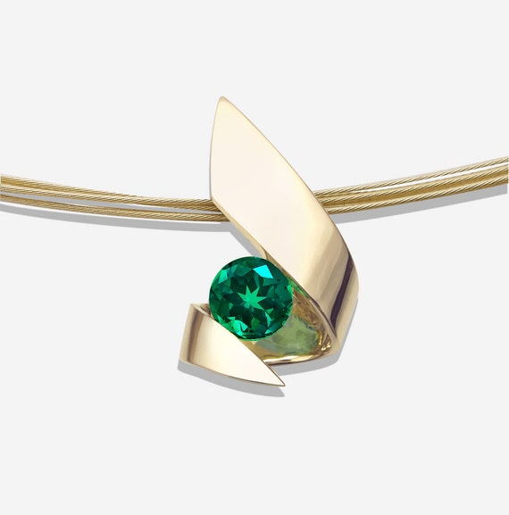 emerald pendant, gold pendant, 14k yellow gold, Christmas necklace, May birthstone, fine jewelry, green gemstone  3440