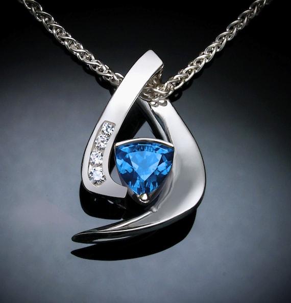 Swiss blue topaz necklace set with white sapphire side stones in Argentium silver, December birthstone, designer jewelry -3369