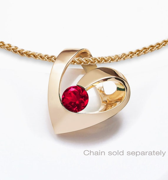 14k gold and ruby heart pendant, CHAIN SOLD SEPARATELY, July birthstone, valentine necklace, Chatham ruby, artisan jewelry, love -  3401
