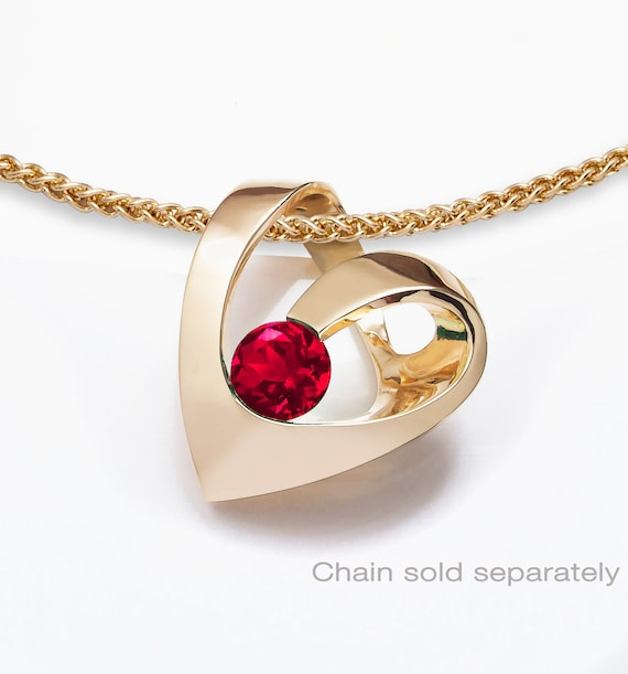 14k gold and ruby heart pendant, July birthstone, valentine gift, Chatham ruby, artisan jewelry, contemporary pendant  -  3401