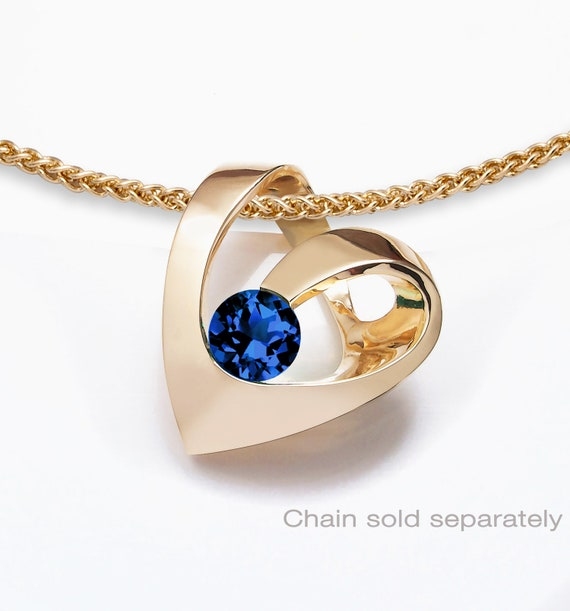 14k yellow gold heart blue sapphire pendant, CHAIN SOLD SEPARATELY, September birthstone, Valentine gift - 3401