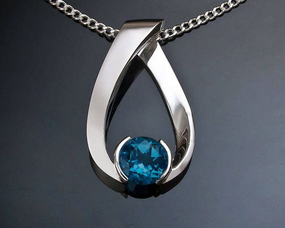 blue topaz pendant, London blue topaz necklace, Argentium silver, December birthstone, artisan necklace - 3470