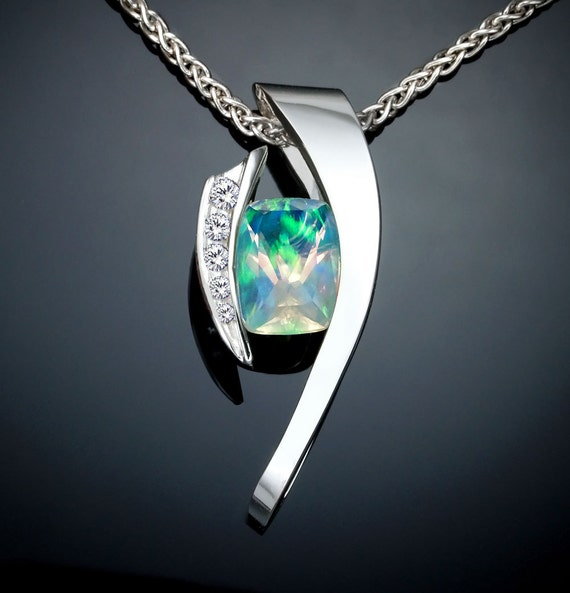 opal pendant, October birthstone, white sapphires, statement necklace, Chatham opal, Argentium silver, fine jewelry  3374