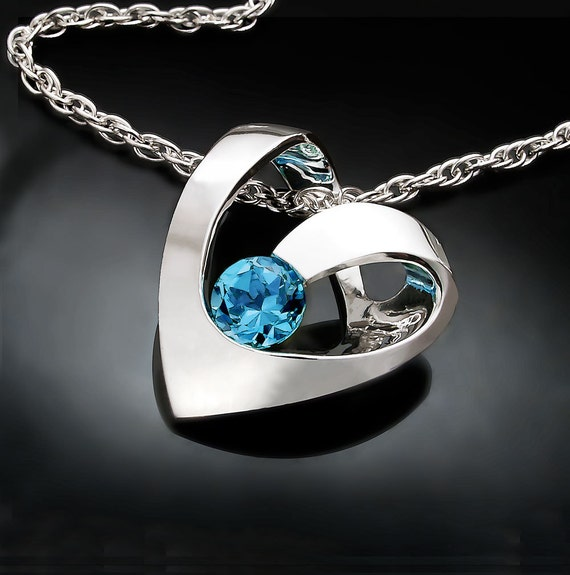 Swiss blue topaz necklace, heart necklace, December birthstone, heart pendant, valentine gift, modern necklace, wedding necklace -3401