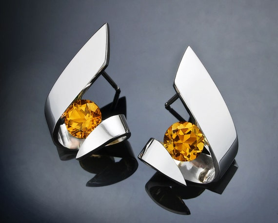 citrine earrings, November birthstone, fine jewelry, statement earrings, Argentium silver earrings, modern jewelry, gemstone jewelry - 2440