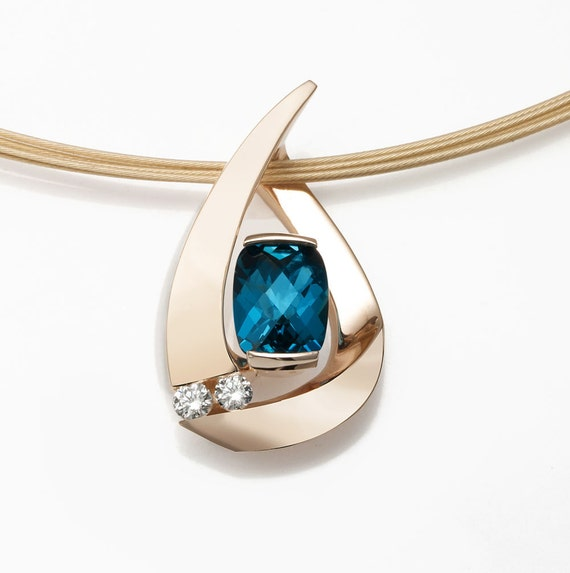 14k gold London blue topaz pendant and diamond necklace, December birthstone, luxury gift for her - 3378