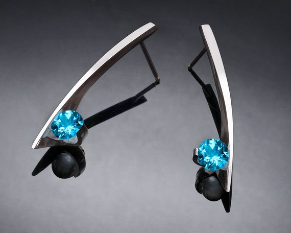 Swiss blue topaz earrings, blue topaz earrings, Argentium silver earrings, December birthstone, wedding earrings, artisan earrings - 2458