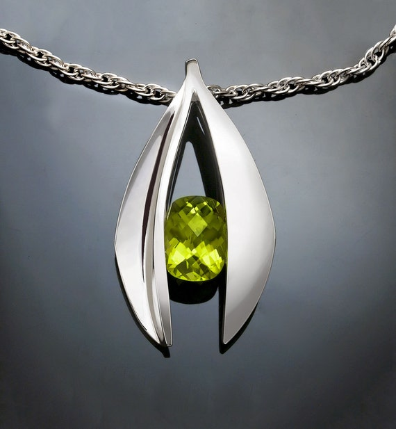 peridot necklace, statement necklace, peridot pendant, August birthstone, artisan jewelry,  Argentium silver, luxury gift - 3495