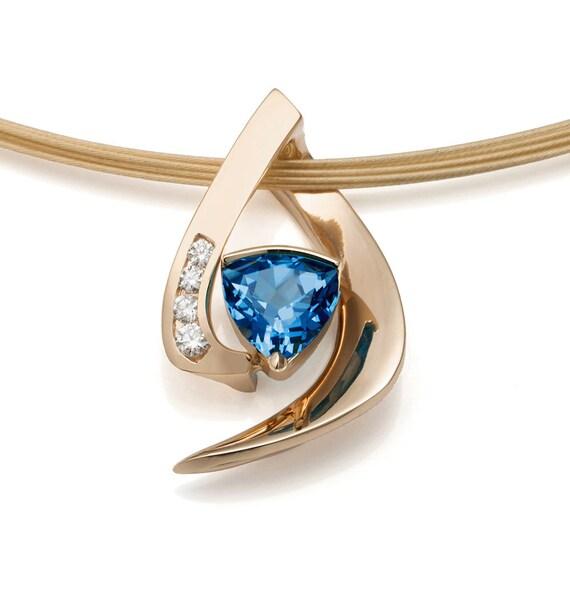 14K gold necklace - Swiss blue topaz pendant - diamond necklace - December birthstone - contemporary jewelry - 3369
