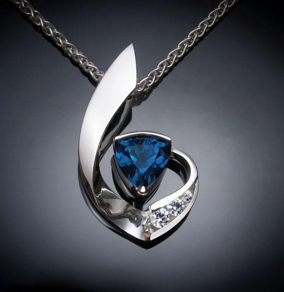 blue topaz pendant, London blue topaz necklace, Argentium silver, December birthstone, artisan necklace, white sapphires - 3466