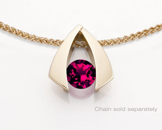 14k gold and ruby pendant, July birthstone, Chatham lab created ruby, modern pendant, 15th anniversary pendant - 3424
