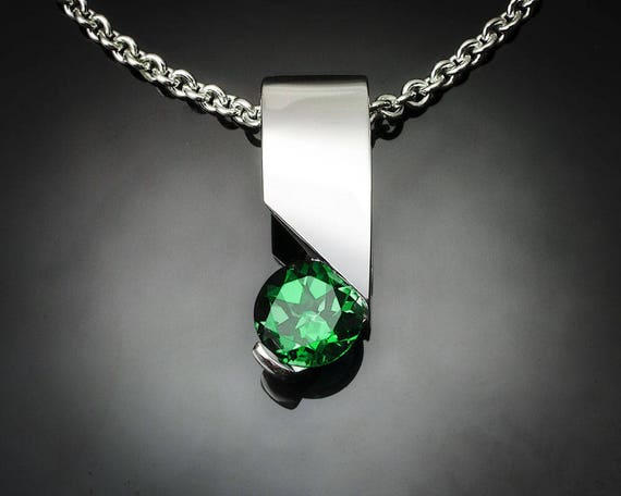 green topaz necklace, green topaz pendant, silver pendant, Argentium silver, artisan jewelry, tension setting - 3460