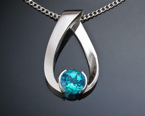 blue topaz necklace, turquoise blue topaz pendant, December birthstone, Argentium silver pendant, eco-friendly, modern jewelry - 3470