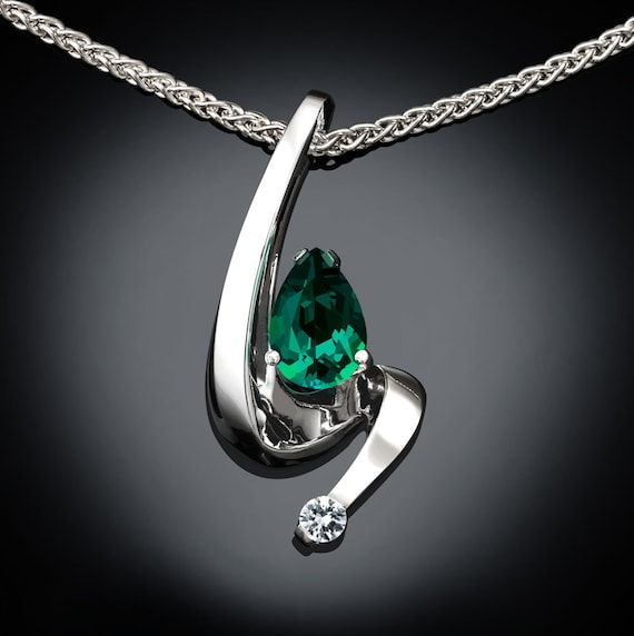 Emerald necklace, white sapphire, May birthstone, tarnish resistant silver, pear shape pendant, 35th anniversary, 3380