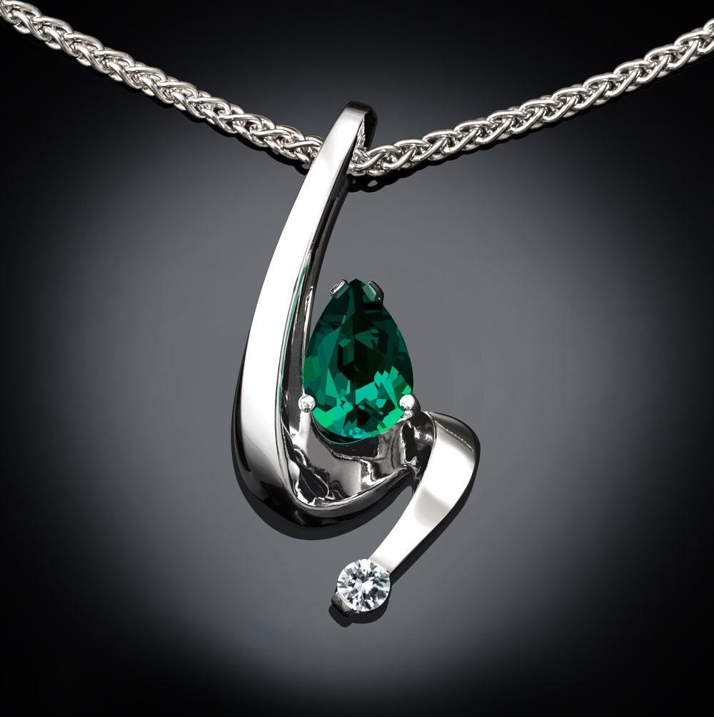 Emerald necklace, white sapphire, May birthstone, tarnish