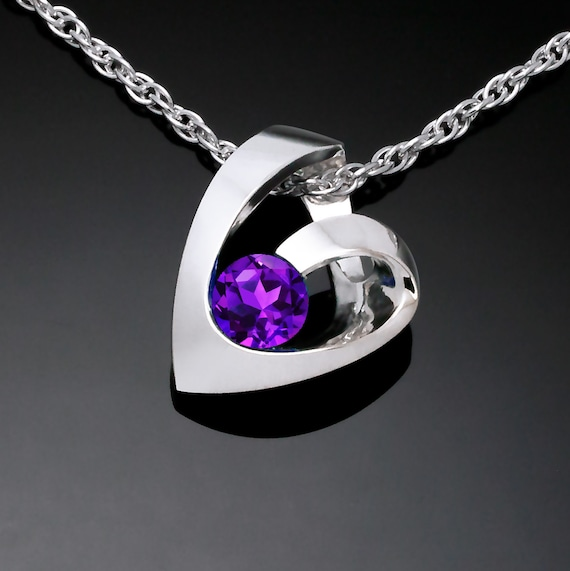 amethyst heart pendant, Argentium silver pendant, February birthstone, Valentine's gift, amethyst necklace - 3501